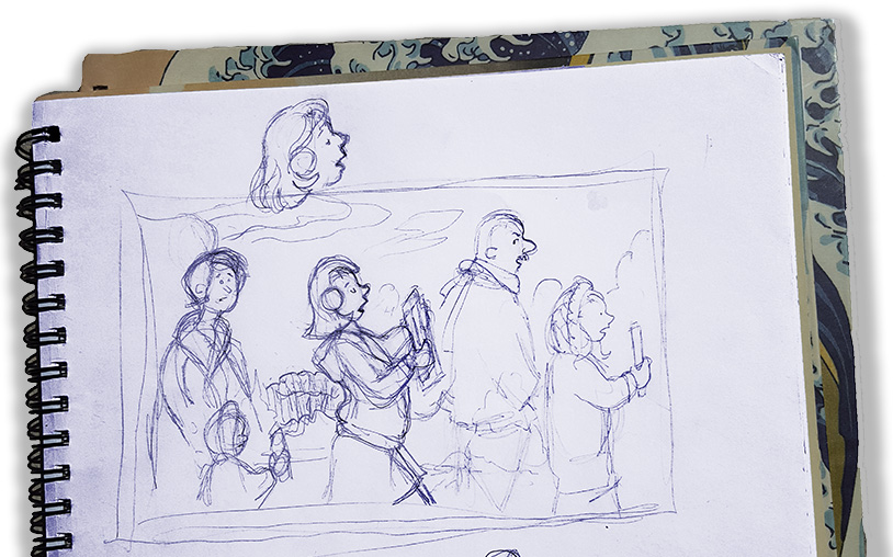 I liked this sketch of Abigail disturbing the procession, but I couldn't find a good place to include it and it never made it into the book.