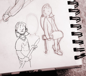 Some early sketches. Once I did the one of her being restless in church, I knew that was Abigail.
