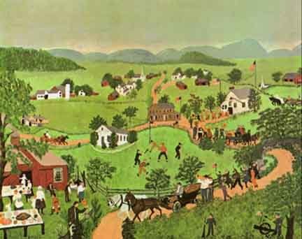 "This painting -- ""Fourth of July"" -- was one of Grandma Moses' first. She was nearly 80 when she painted it!"